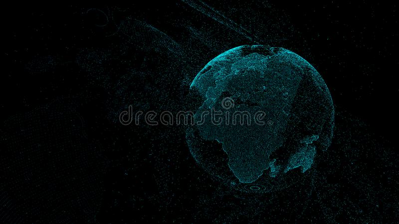 Punto e linea mappa di mondo composta, rappresentante il globale, collegamento di rete globale, significato internazionale, grand illustrazione vettoriale