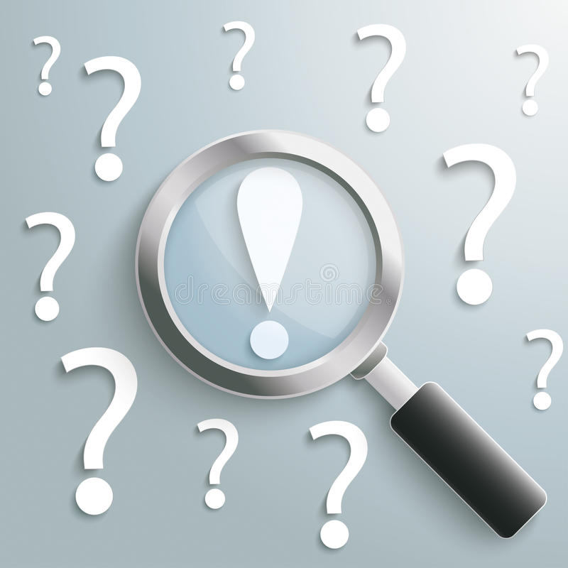 Punto esclamativo bianco della lente di ingrandimento dei punti interrogativi illustrazione di stock