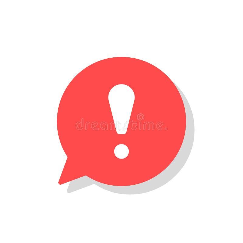Punto esclamativo nell'icona di vettore di discorso della bolla attenzione di OS di concetto o segnale di pericolo Informazioni d illustrazione vettoriale