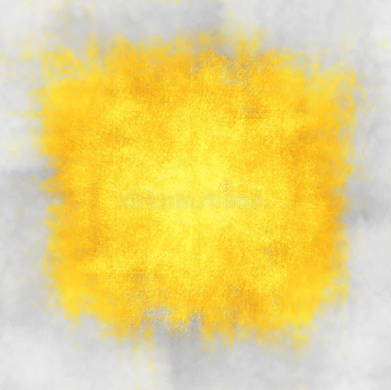 Punto giallo dell'acquerello su fondo grigio illustrazione vettoriale