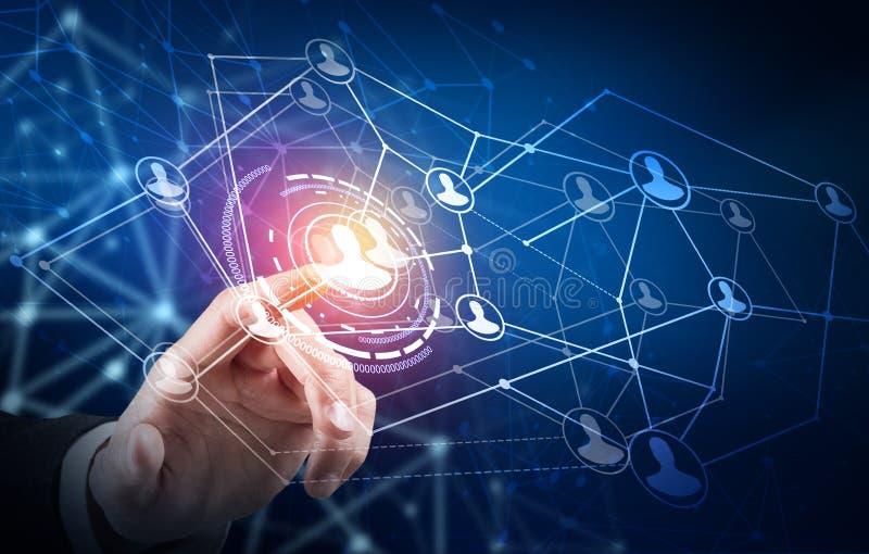 Punto humano de la mano en el centro de los iconos sociales de la red ilustración del vector