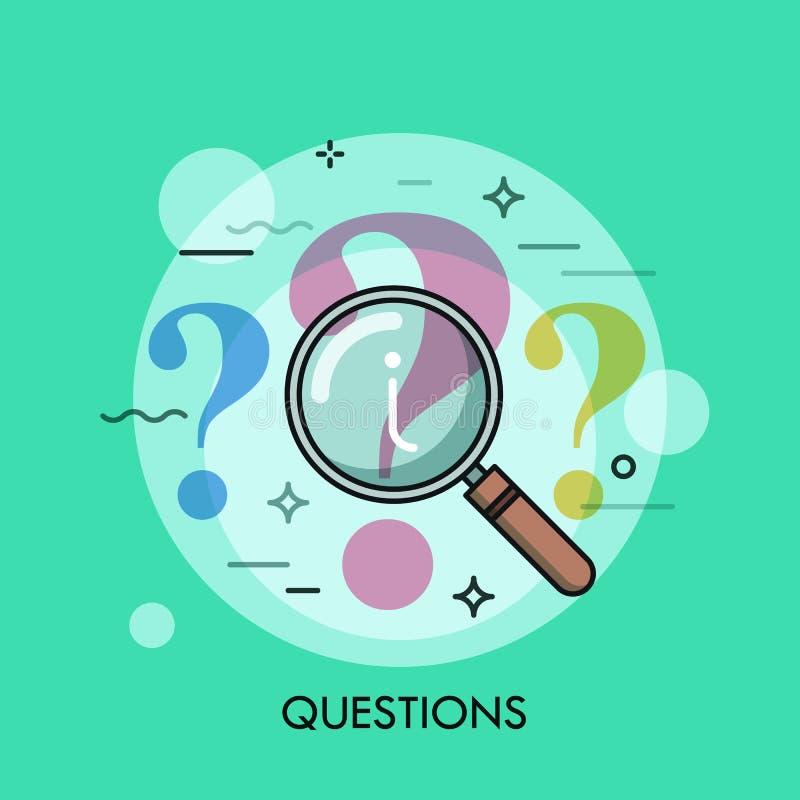 Punto interrogativo allo studio con la lente d'ingrandimento illustrazione di stock