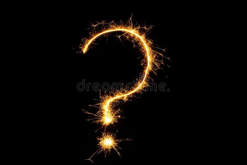 Punto interrogativo bruciante della stella filante isolato su fondo nero illustrazione vettoriale