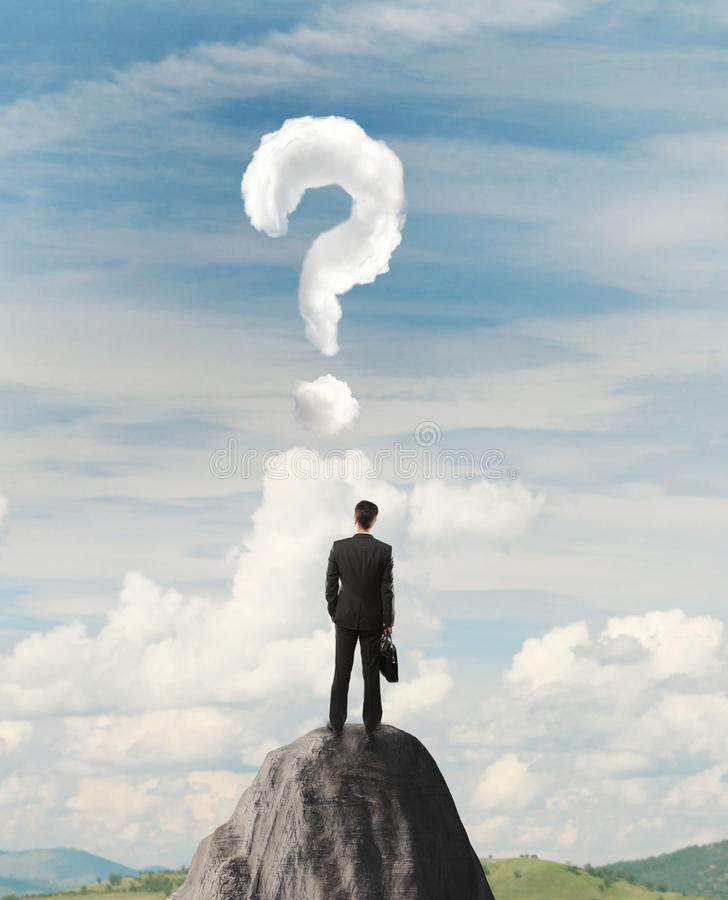 Punto interrogativo in cielo immagine stock libera da diritti