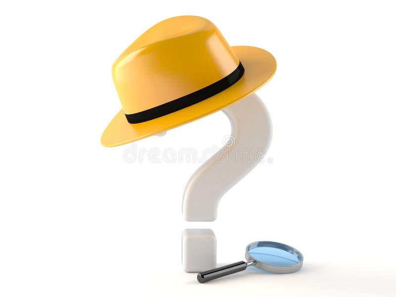 Punto interrogativo con il cappello e la lente d'ingrandimento royalty illustrazione gratis