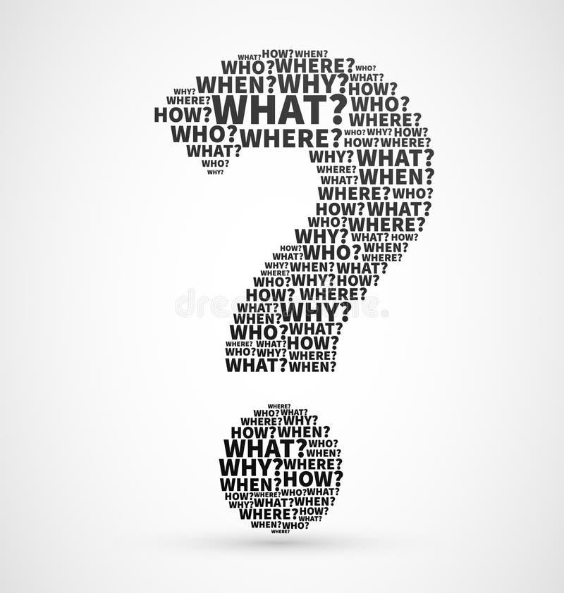Punto interrogativo dalle parole di domanda illustrazione vettoriale
