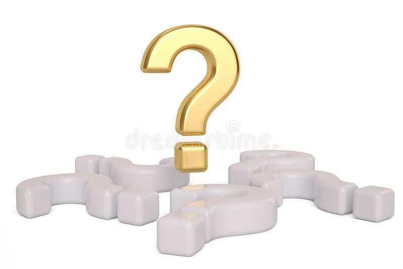 Punto interrogativo dell'oro e punti interrogativi bianchi illustrazione 3D illustrazione di stock