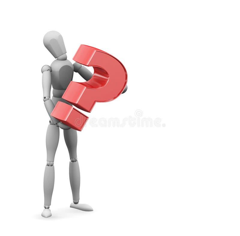 Punto interrogativo della holding dell'uomo illustrazione vettoriale