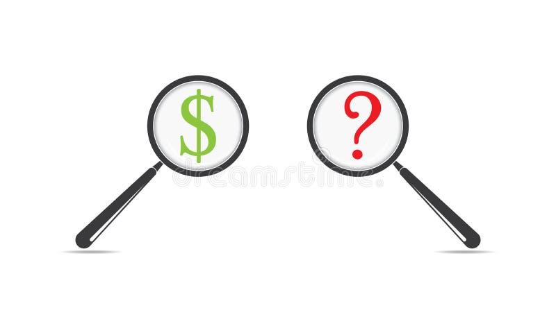 Punto interrogativo della lente d'ingrandimento e del simbolo di dollaro - cercando l'icona del dollaro dei soldi illustrazione vettoriale