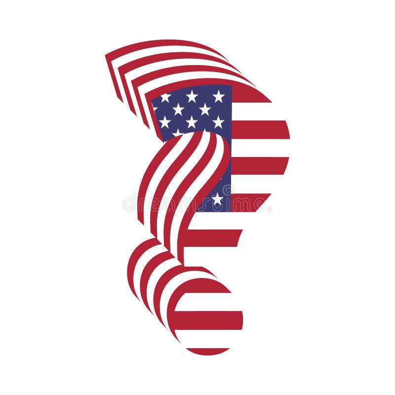 Punto interrogativo della lettera della bandiera 3d di U.S.A. Fonte strutturata illustrazione vettoriale