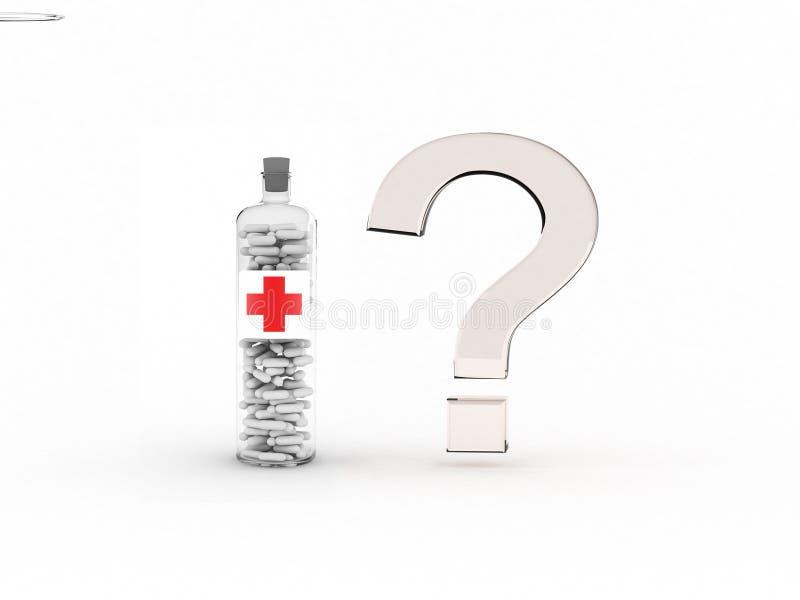 Punto interrogativo e bottiglia di vetro con le pillole. immagine stock