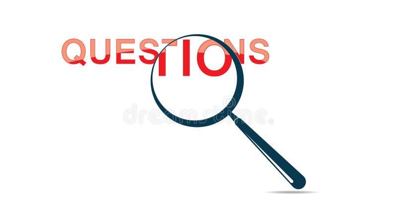 Punto interrogativo e lente d'ingrandimento - vetro di Mark Is Searching By Magnifying di domanda illustrazione vettoriale