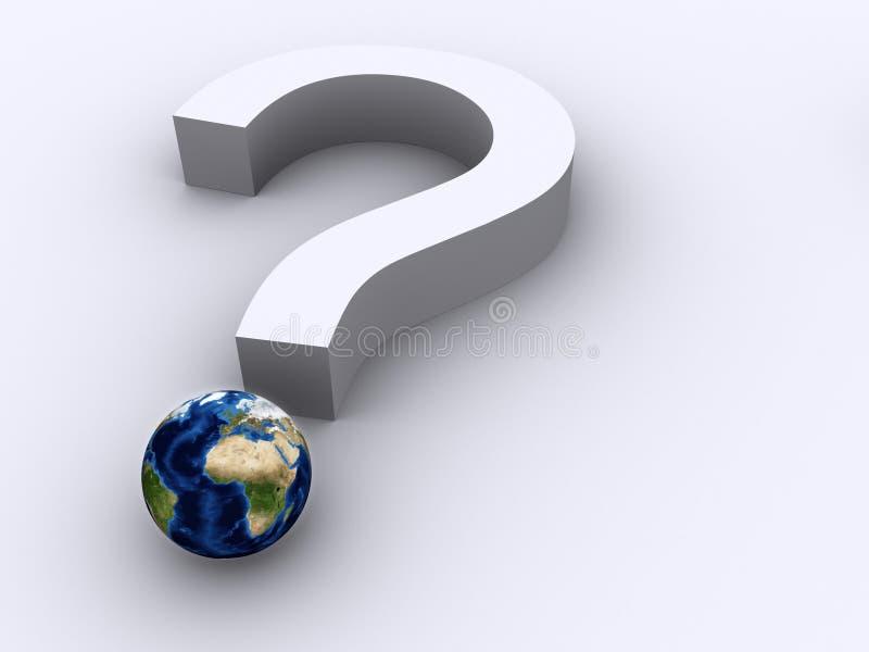 Punto interrogativo e terra illustrazione di stock
