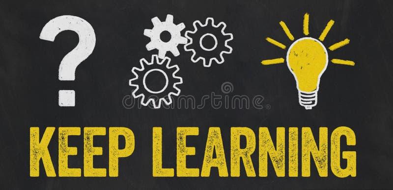 Punto interrogativo, ingranaggi, concetto della lampadina - apprendimento Keep illustrazione vettoriale