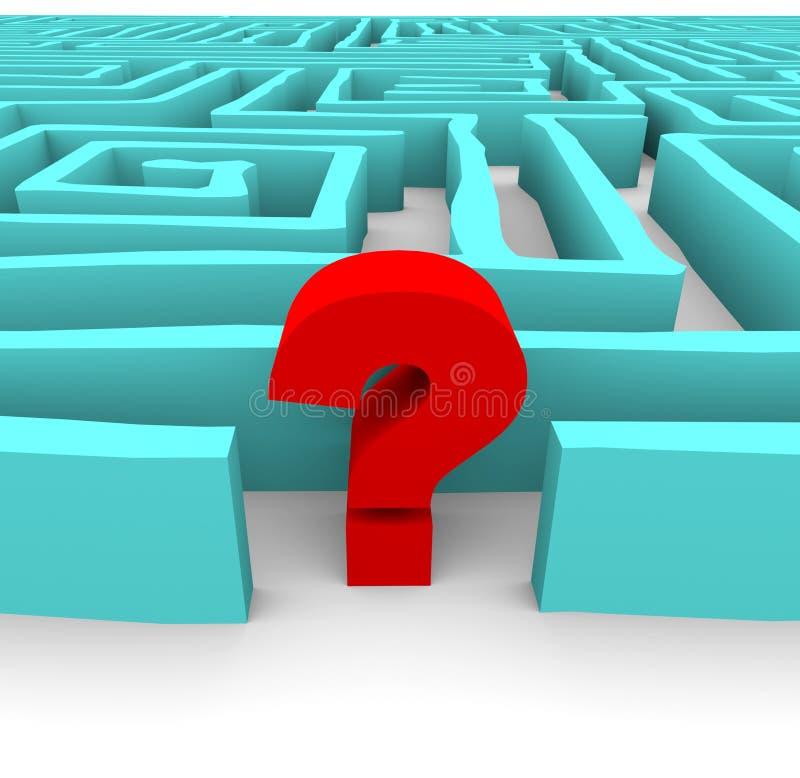 Punto interrogativo in labirinto blu illustrazione vettoriale