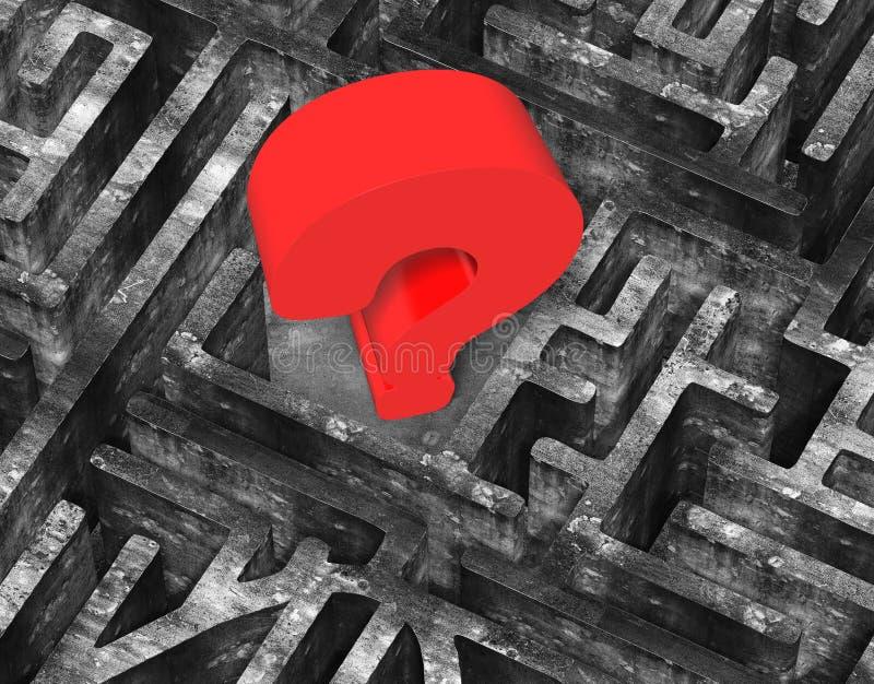 Punto interrogativo rosso enorme 3D nella vecchia struttura concreta del labirinto royalty illustrazione gratis
