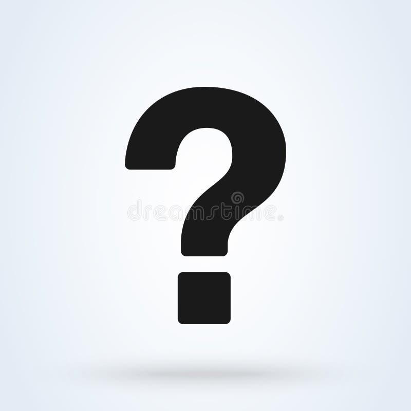 Punto interrogativo, stile piano di simbolo di aiuto Icona isolata su fondo bianco Illustrazione di vettore illustrazione vettoriale