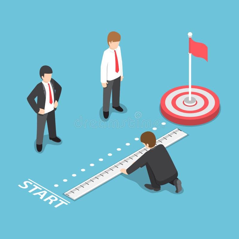 Punto isométrico del comienzo de Measuring Distance Between del hombre de negocios y stock de ilustración