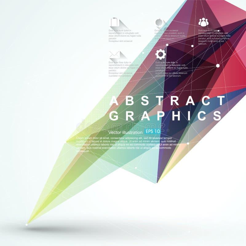 Punto, línea, composición superficial de gráficos abstractos, infographics, ejemplo del vector stock de ilustración