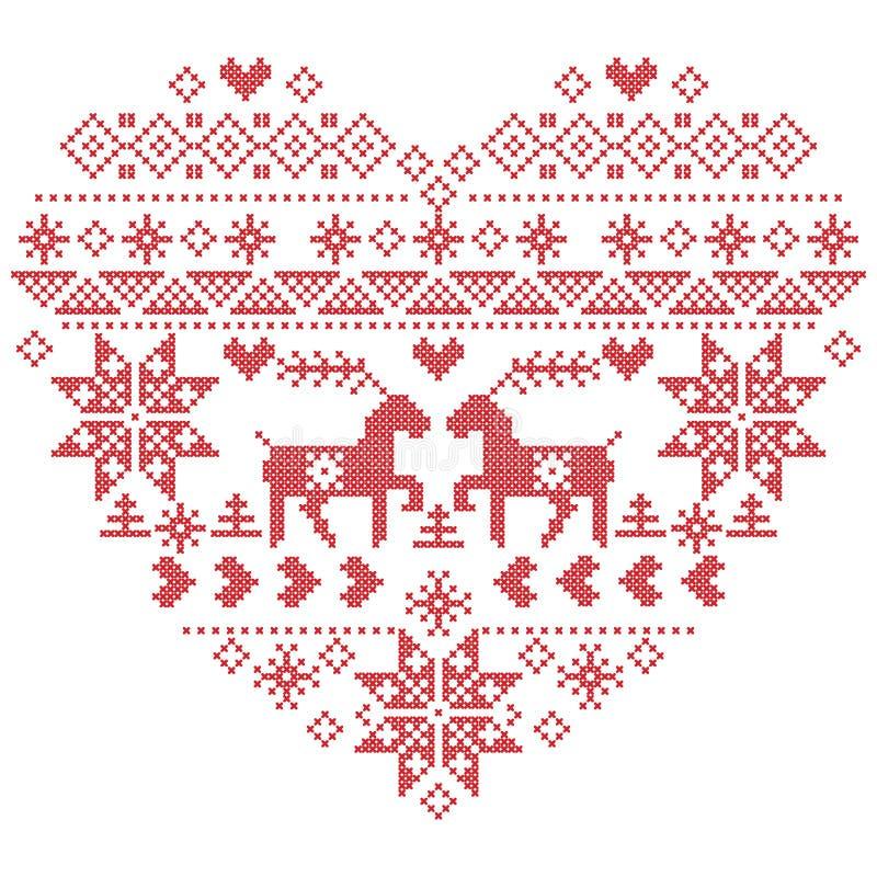 Punto nordico scandinavo di inverno, tricottante il modello di natale dentro nella forma di forma del cuore compreso i fiocchi di illustrazione di stock