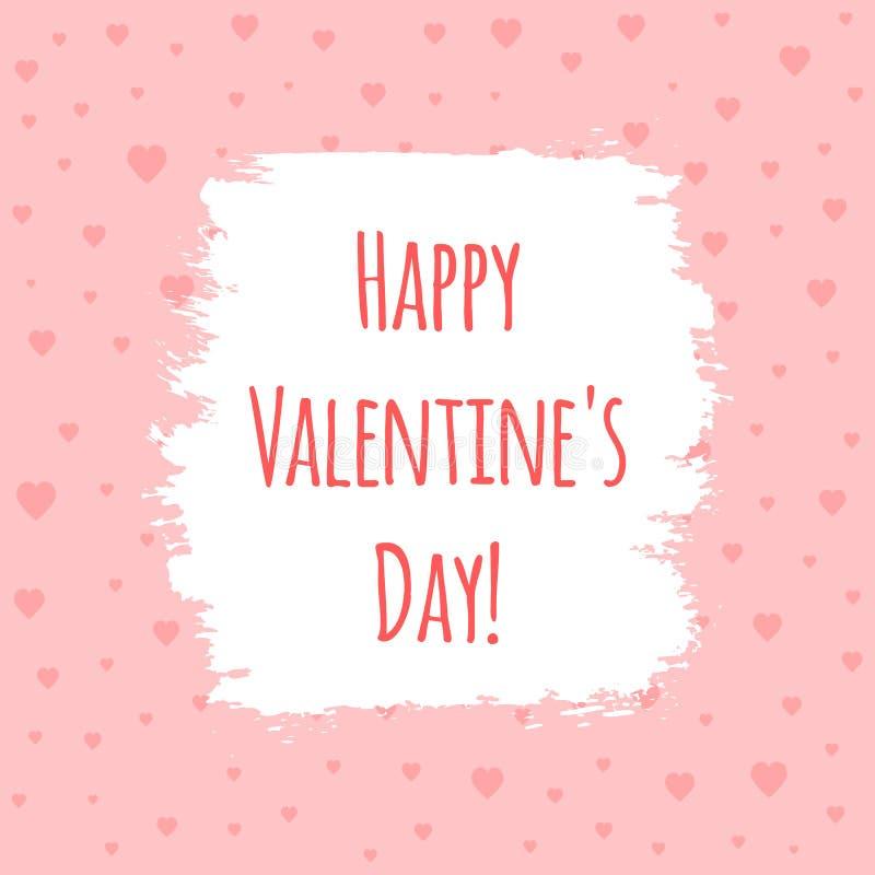 ¡Punto pintado con un cepillo con el día feliz del ` s de la tarjeta del día de San Valentín del texto! Fondo con los corazones libre illustration