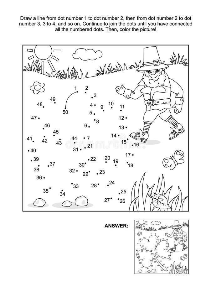 Punto-a-punto de la hoja y del duende del trébol y página del colorante stock de ilustración