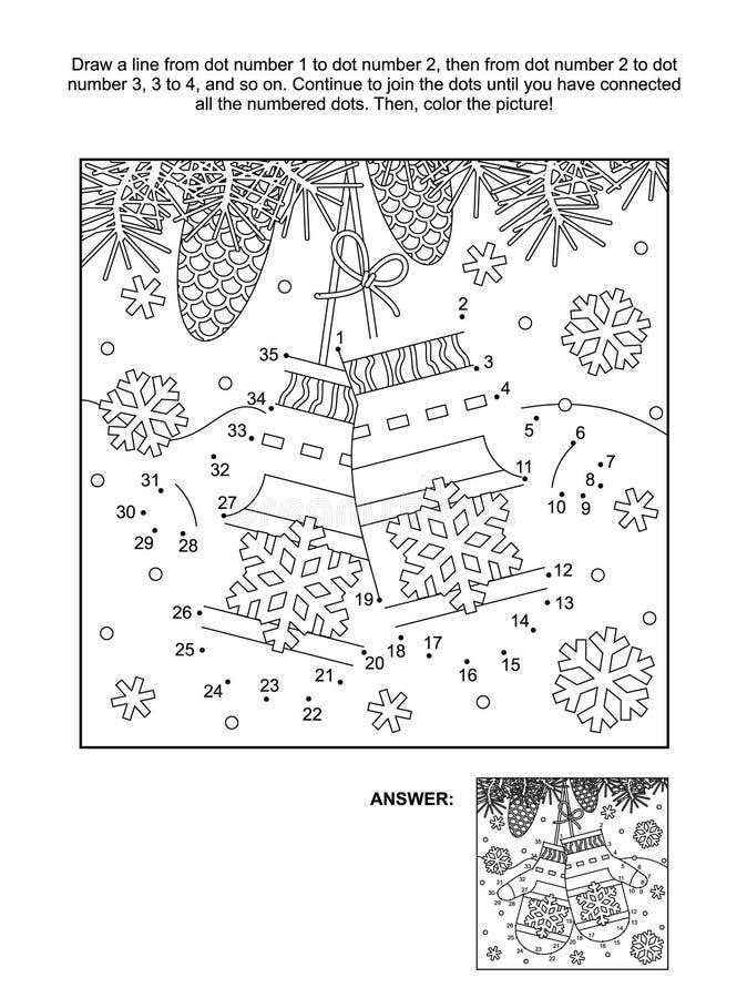 Punto--punto e pagina di coloritura con i guanti del ` s di Santa illustrazione di stock
