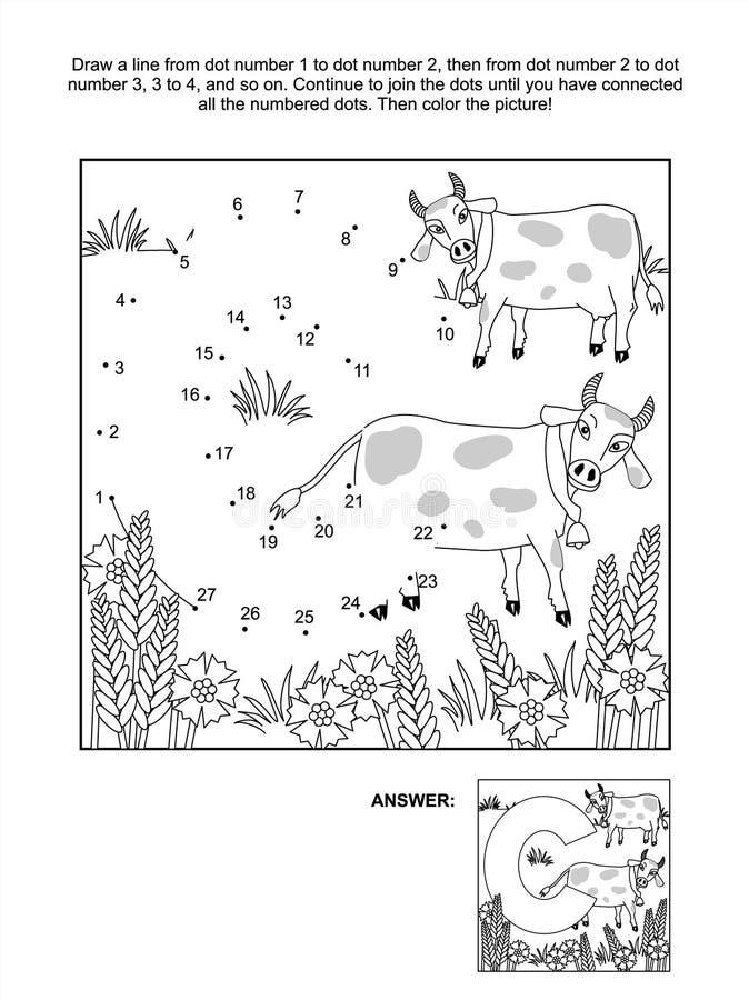 Punto-a-punto Y Página Del Colorante - Letra C, Las Vacas Y Los ...
