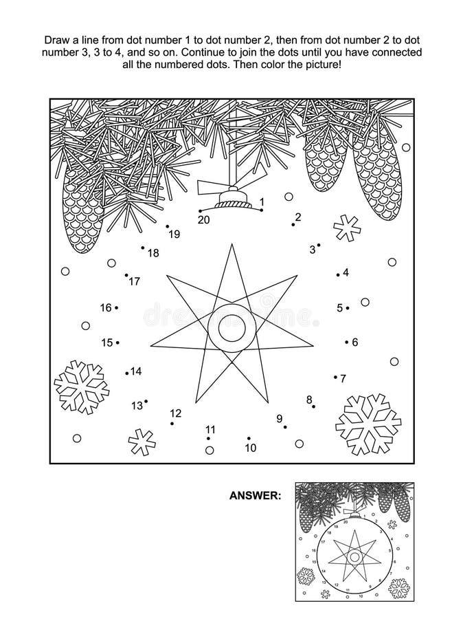 Punto-a-punto y página del colorante - ornamento de la Navidad ilustración del vector