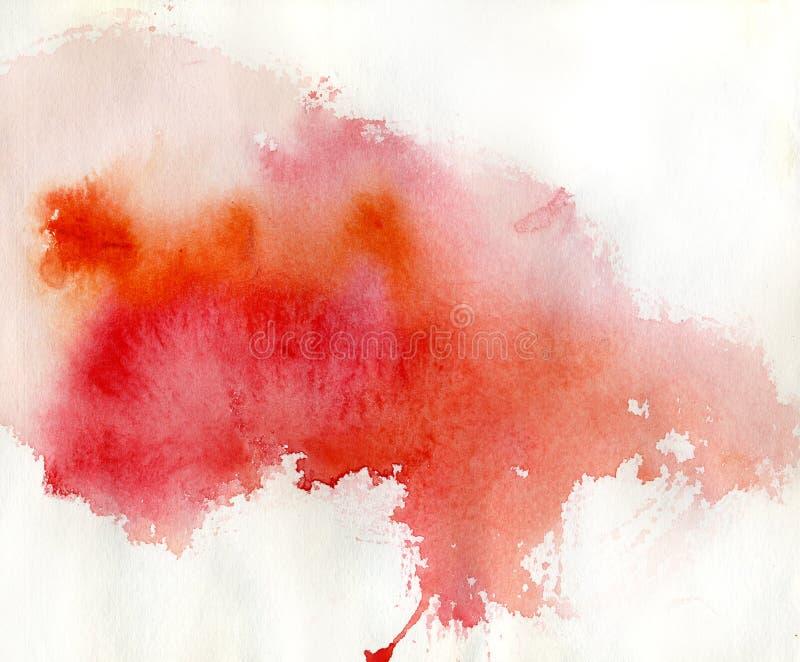 Punto rojo, fondo abstracto de la acuarela stock de ilustración
