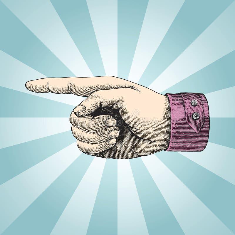 Punto umano della mano, annata di stile di schizzo con il raggio royalty illustrazione gratis