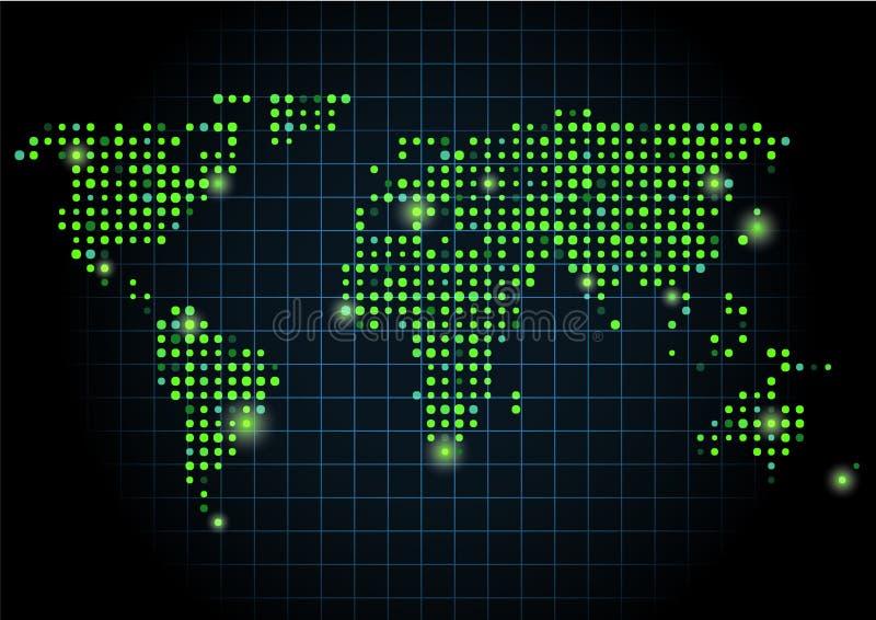 Punto verde del mapa del mundo fotografía de archivo libre de regalías