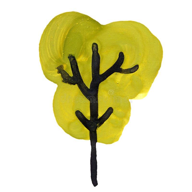 Punto verde della pittura di gouache del trunck del nero dell'albero illustrazione di stock