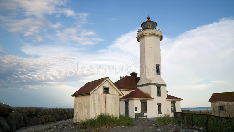 Punto Wilson Lighthouse Puget Sound Fort Wordon immagine stock