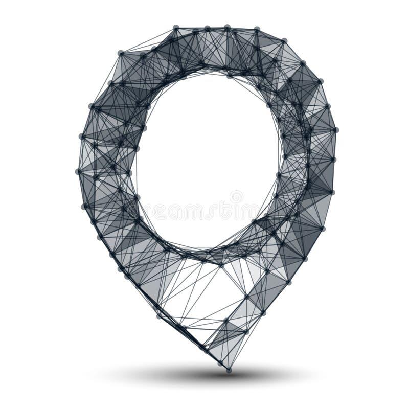 Punto y líneas fondo de la malla de Wireframe stock de ilustración