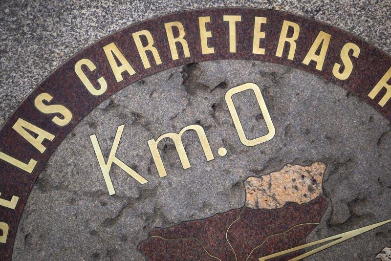 Punto zero di chilometro, centro geografico della Spagna al del di Puerta fotografia stock