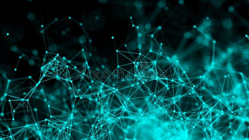 Puntos abstractos de la conexión Fondo de la tecnología Tema del azul del dibujo de Digitaces Concepto de la red ilustración del vector