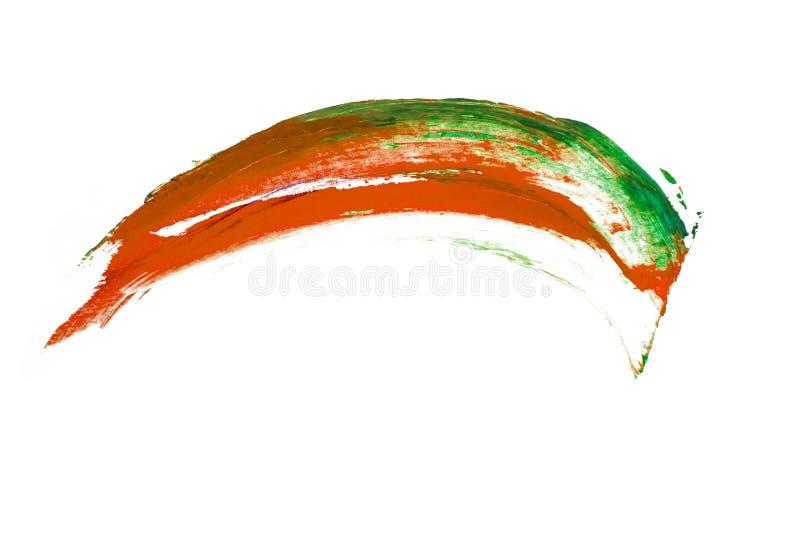 Puntos azulverdes anaranjados de la brocha en el fondo blanco foto de archivo libre de regalías