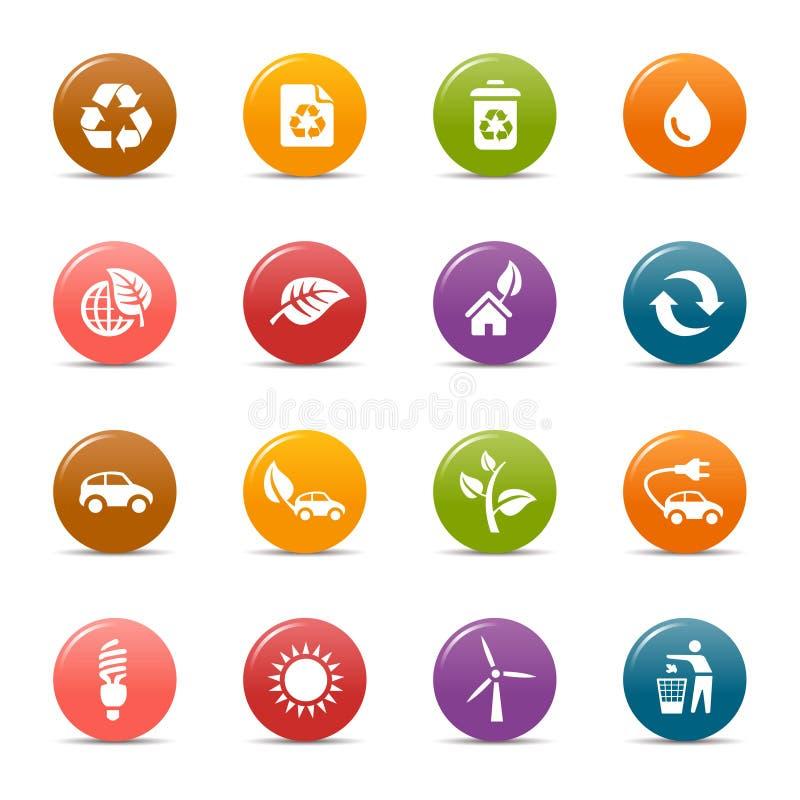 Puntos coloreados - iconos ecológicos libre illustration