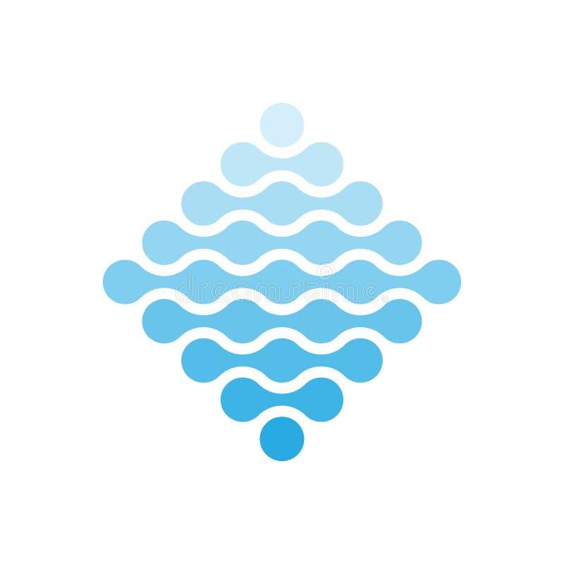 Puntos conectados en una forma del Rhombus y de sombras del azul Concepto del tema del agua Elemento abstracto del diseño Vector stock de ilustración