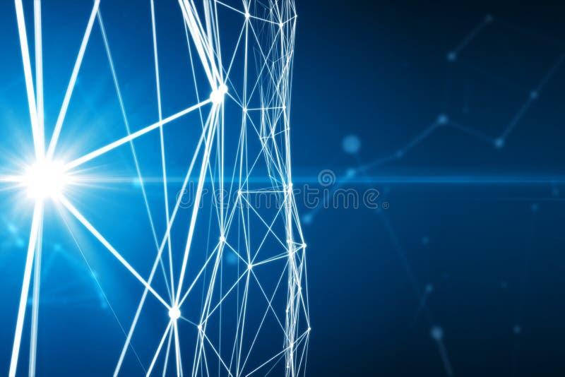 Puntos conectados extracto en fondo azul brillante libre illustration