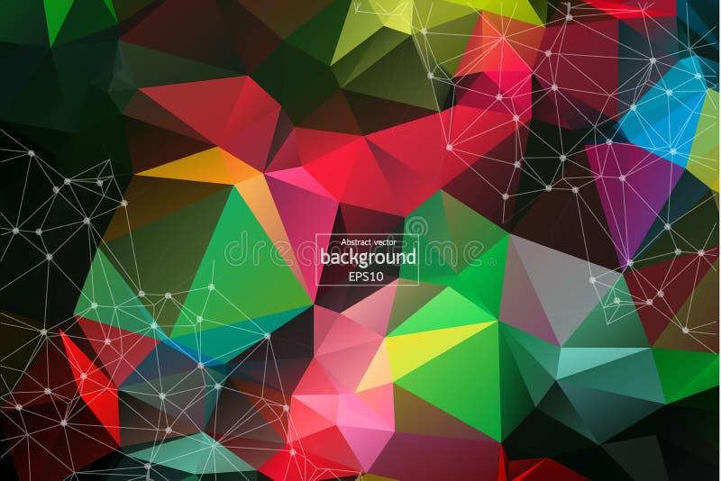 Puntos conectados extracto en fondo rojo brillante Concepto de la tecnología Fondo oscuro del espacio poligonal abstracto con la  stock de ilustración