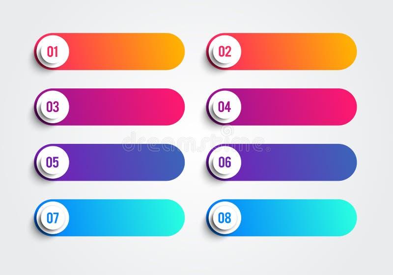 Puntos de bala con los números 1 a 8 en cuadros de texto coloridos Elemento del Web del vector libre illustration