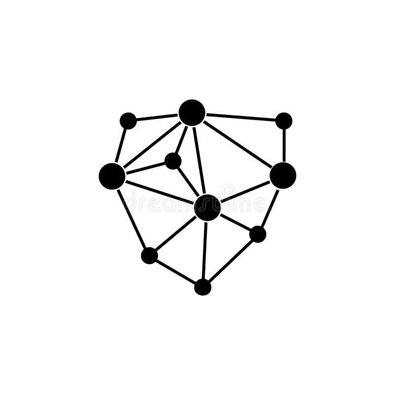Puntos de conexión y líneas abstractos icono ilustración del vector