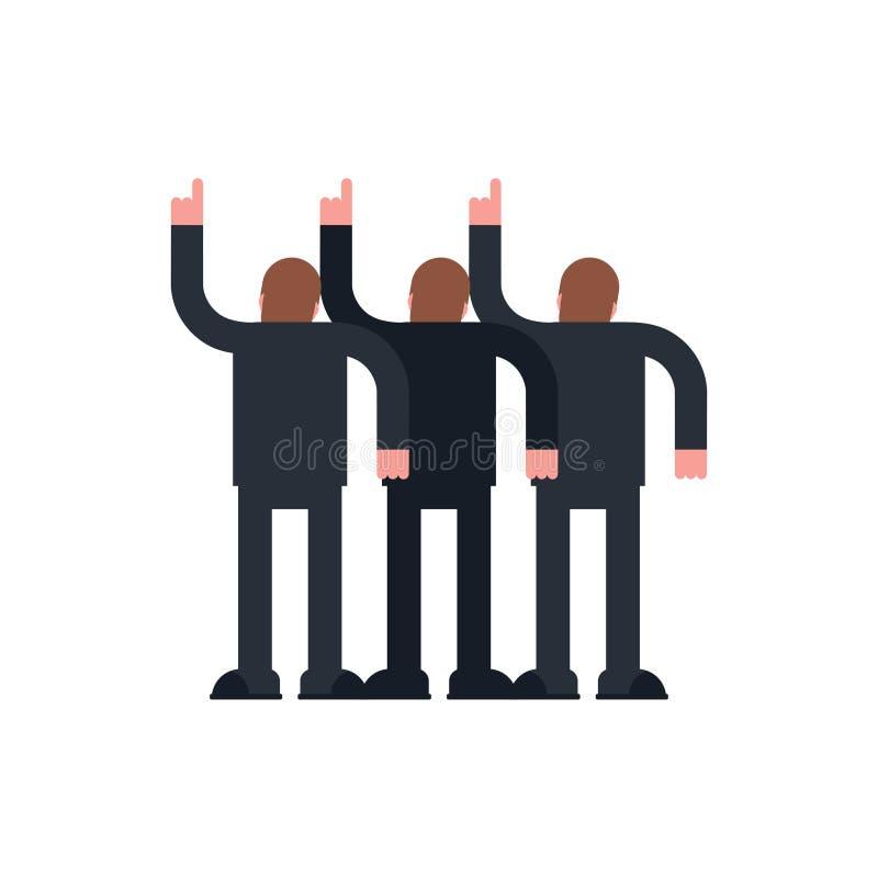 Puntos de la gente encima de la mano El grupo de personas retrocede Ilustraci?n del vector libre illustration
