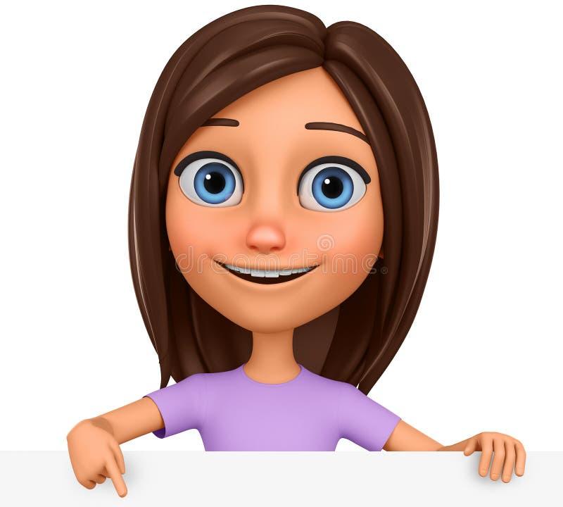 Puntos de la muchacha del personaje de dibujos animados a un tablero en blanco en un fondo blanco representaci?n 3d Ilustraci?n p stock de ilustración