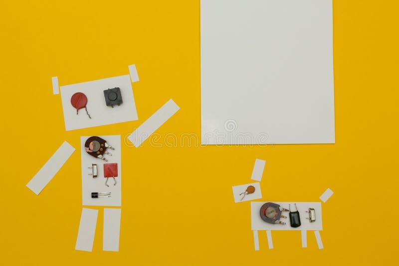 Puntos de papel del robot a una muestra con el espacio para el texto ilustración del vector