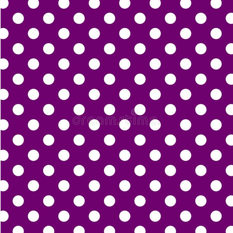 puntos de polca blancos grandes de +EPS en fondo púrpura stock de ilustración