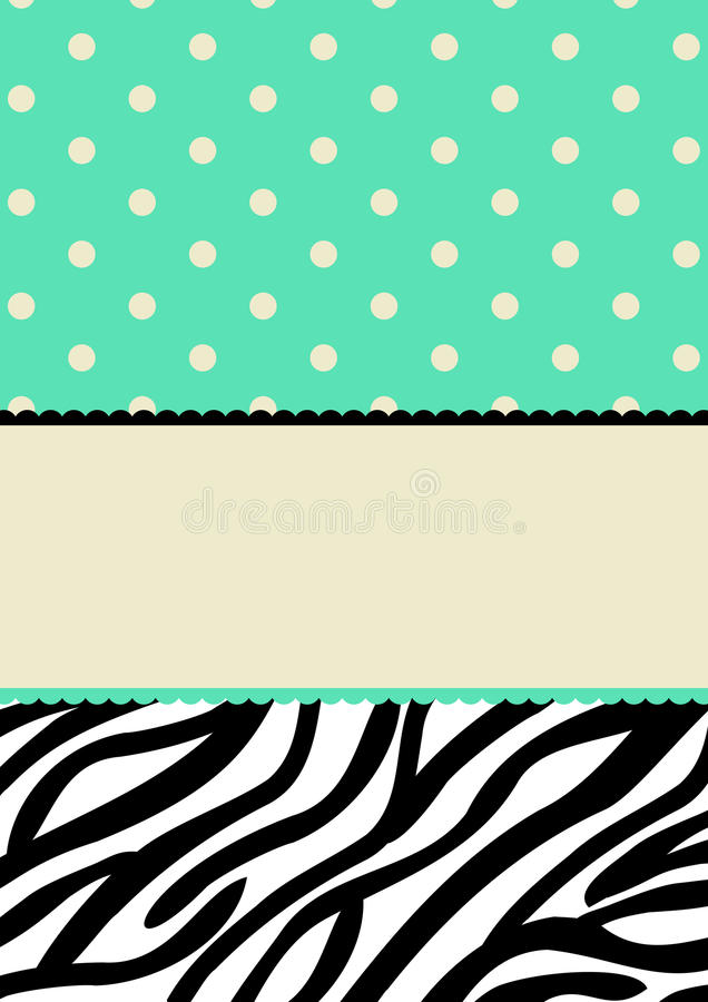 Puntos de polca y tarjeta de la invitación del modelo de la cebra stock de ilustración