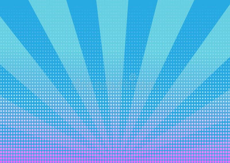 Puntos de semitono con el fondo abstracto de las rayas azules ilustración del vector
